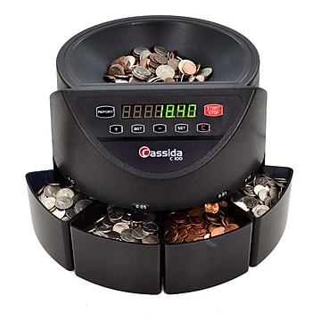 Cassida C100 Coin Sorter, 4 Compartments, Black (C100)