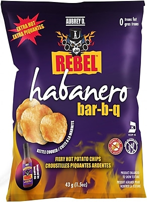 Aubrey D. Spicy Habanero BBQ Flavored Rebel Potato Chips, 4/Pack (245701)
