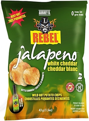 Aubrey D. Cheesy Jalapeno White Cheddar Potato Chips, 8/Pack (245703)