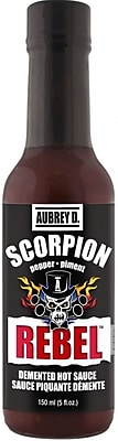 Hot Ghost Peppers & Spicy Habanero Blend in the Aubrey D. Rebel Scorpion Hot Sauce, 8/Pack (257726)
