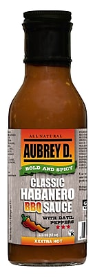 Hot, Tangy and Zesty, the Saucy Aubrey D. Bold & Spicy Habanero BBQ Sauce, 8/Pack (255034)