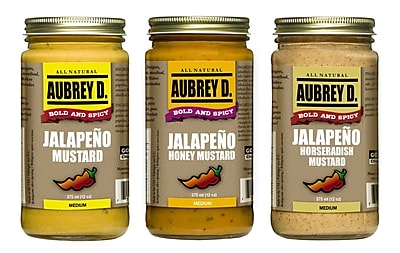 Aubrey D. Jalapeno Honey Mustard, Spicy Jalapeno Mustard and Jalapeno Horseradish Mustard Condiments, 375ml, 3/Pack (BLB0058)