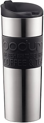 TRAVEL MUG Vacuum travel mug, large, 0.45 l, 15 oz., s/s, Black, By Bodum (11058-01BUS)