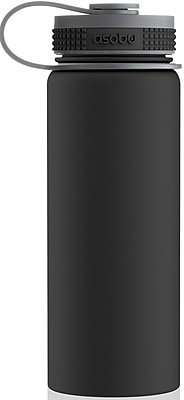 ASOBU Alpine Flask Stainless Steel Insulated Thermos Water Bottle, Black - 18 oz. (TMF2-BLACK)