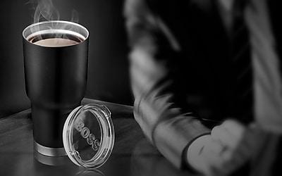 ASOBU Big Boss High Performance Double Walled Insulated Stainless Steel Travel Coffee Mug, Black - 30 oz. (BF30-BLACK)