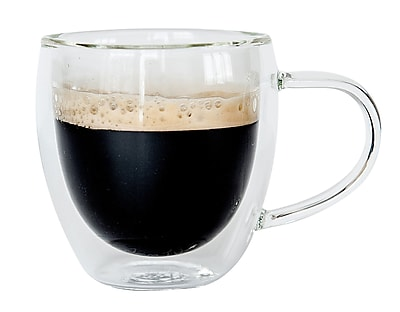 Bistro Mug with Handle from JavaFly, Double Walled Thermo Glass Cup, Set of 2 - 4oz, 2/Pack (DBGH25-4oz) 24116790