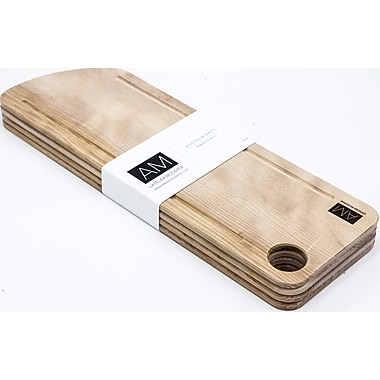 Birch Wood Cutting Board Style Rustic Serving Plates 6x18 by L'Atelier Moderne, Set of 4 (AM-WC-1806-SP)