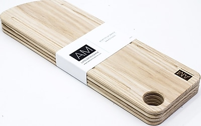 Ash Wood Cutting Board Style Rustic Serving Plates 6x18 by L'Atelier Moderne, Set of 4 (AM-AA-1806-SP)