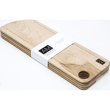Hickory Wood Cutting Board Style Rustic Serving Plates 6x18 by L'Atelier Moderne, Set of 4 (AM-HH-1806-SP)