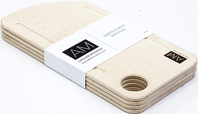 Maple Wood Cutting Board Style Rustic Serving Plates 6x12 by L'Atelier Moderne, Set of 4 (AM-MM-1206-SP)