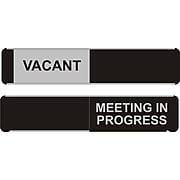 "SECO Sliding Sign ""Meeting in Progress"" 10""W x 2""H Aluminum, Black and White (OF139-255X52)"