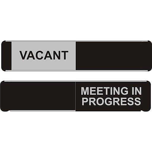 seco sliding sign meeting in progress 10 w x 2 h aluminum black