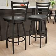 Flash Furniture HERCULES 2/Pack Black Ladder Back Swivel Metal Bar Stools W/Vinyl Seat (2XU6F8BLDSWVBKV)