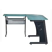 """Techni Mobili Deluxe 65""""W Glass L-Shaped Desk, Gray (RTA-3803-GPH06)"""