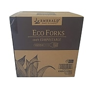 Emerald Plant to Plastic Compostable PLA Fork, Heavy-Weight, White, 100 Pieces/Sleeve, 5 Sleeves/Box (EMRFORKC)