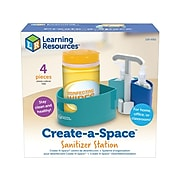 """Learning Resources Create-A-Space 3.7"""" x 5.85"""" Plastic Sanitizer Station, Turquoise/Blue/White (LER 4362)"""