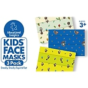 Educaitonal Insights Sneaky, Snacky Squirrel Reusable Cloth Face Mask, Kids, White/Blue/Yellow, 3/Pack (8950)