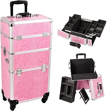 Sunrise Pink Crocodile Trolley Makeup Case (JSTC249)
