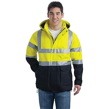 Port Authority J799S Men's ANSI 107 Class 3 Safety Heavyweight Parka, Safety Yellow & Black & Reflective - 2XL (SANMR10865)