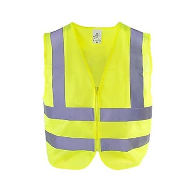 TR Industrial Neon Yellow High Visibility Front Zipper Safety Vest, Medium (ALSG002)