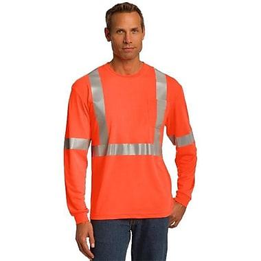 Cornerstone CS401LS Men's ANSI 107 Class 2 Long Sleeve Safety T-Shirt, Safety Orange & Reflective - 4XL (SANMR38442)