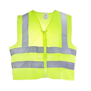 TR Industrial Neon Yellow High Visibility Front Zipper Mesh Safety Vest, Large (ALSG007)