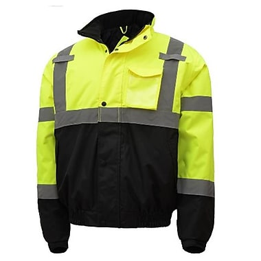 GSS Class 3 Waterproof Quilt-Lined Bomber Jacket - Lime with Black Bottom, 3XL (GSSS283)
