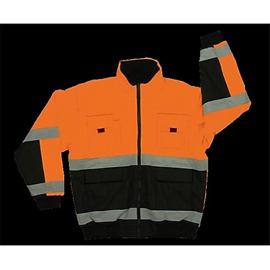 2W Class 3 Reversible Bomber Jacket - Black & Orange, Small (2WIT049)