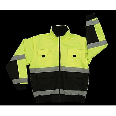 2W Class 3 Reversible Bomber Jacket - Black & Lime, 4 Extra Large (2WIT063)