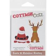 """CottageCutz Die-Santa/Reindeer Resting 2""""X2"""" & 1.7""""X3"""""""