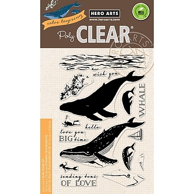 Hero Arts Color Layering Blue Whale Clear Stamps, 4