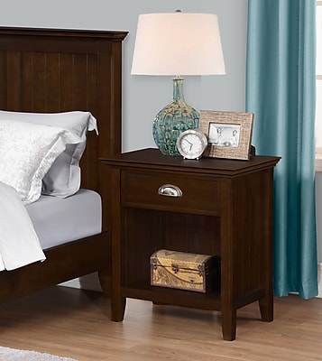 Simpli Home Acadian Bedside Table in Tobacco Brown (3AXCACA-02)