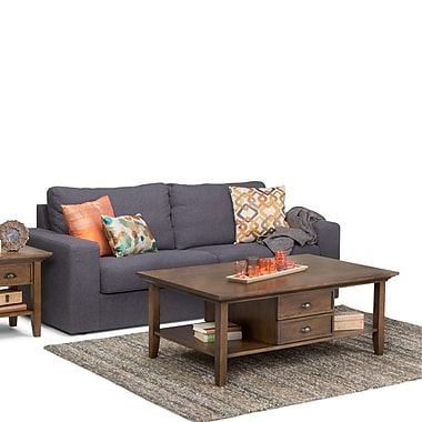 Simpli Home Redmond Coffee Table in Rustic Natural Aged Brown (3AXCADM-01)