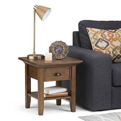Simpli Home Redmond End Side Table in Rustic Natural Aged Brown (3AXCADM-02)