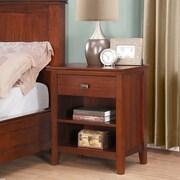 Simpli Home Artisan Bedside Table in Medium Auburn Brown (3AXCART-02)