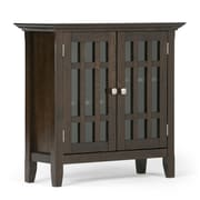 Simpli Home Bedford Low Storage Media Cabinet in Tobacco Brown (3AXCBED-03)