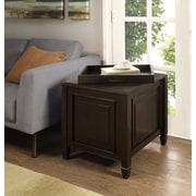 Simpli Home Connaught End Side Table with Tray in Dark Chestnut Brown (3AXCCON-03)