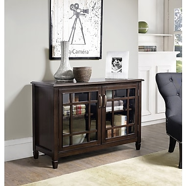 Simpli Home Connaught Low Storage Cabinet in Dark Chestnut Brown (3AXCCON-05)