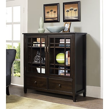 Simpli Home Connaught Tall Storage Cabinet in Dark Chestnut Brown (3AXCCON-06)