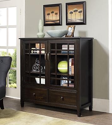 Simpli Home Connaught Tall Storage Cabinet in Dark Chestnut Brown (3AXCCON-06)