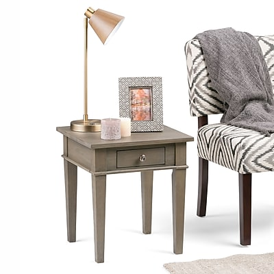 Simpli Home Carlton End Side Table in Farmhouse Grey (3AXCCRL-03-FG)