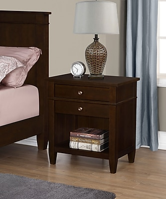Simpli Home Carlton Bedside Table in Tobacco Brown (3AXCCRL-11)