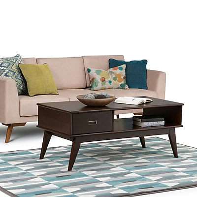 Simpli Home Draper Mid Century Coffee Table in Medium Auburn Brown (3AXCDRP-01)