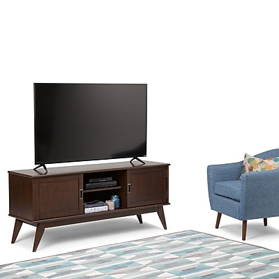 Simpli Home Draper Mid Century Low TV Media Stand in Medium Auburn Brown (3AXCDRP-07)