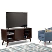 Simpli Home Draper Mid Century Medium TV Media Stand in Medium Auburn Brown (3AXCDRP-08)