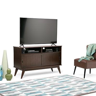 Simpli Home Draper Mid Century Tall TV Media Stand in Medium Auburn Brown (3AXCDRP-09)