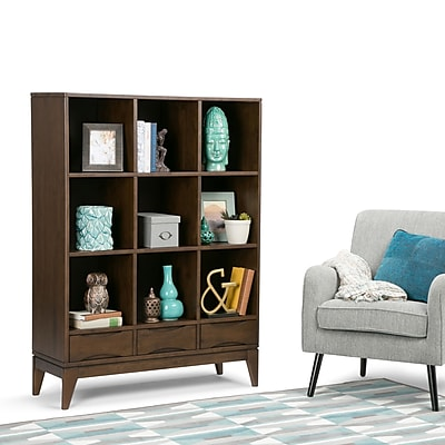 Simpli Home Harper Cube Storage with Drawers in Walnut Brown (3AXCHRP-07)
