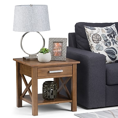 Simpli Home Kitchener End Side Table in Medium Saddle Brown (3AXCRGL002-SB)