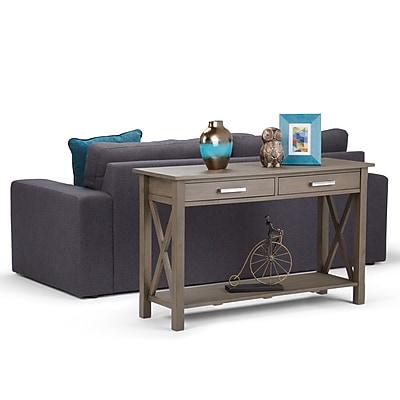Simpli Home Kitchener Console Sofa Table in Farmhouse Grey (3AXCRGL003-FG)