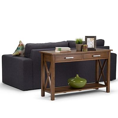 Simpli Home Kitchener Console Sofa Table in Medium Saddle Brown (3AXCRGL003-SB)